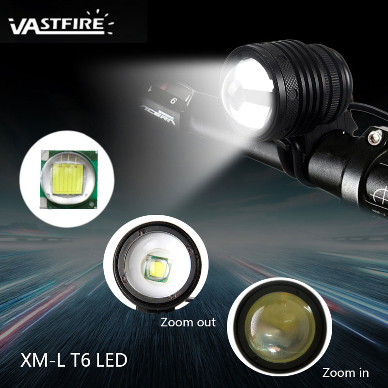 Waterproof XM L T6 LED Light Adjustable Focus Headlight Zoomable 3000Lm Night Cycling Mountain Road Bike Lamp with Backlight
