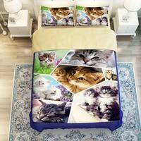 3D Oil Cat Bedspreads Sheet,3/4pc duvet cover without filler,100% Polyester Queen King Cat Duvet Cover,Kids Twin Cat Bedding