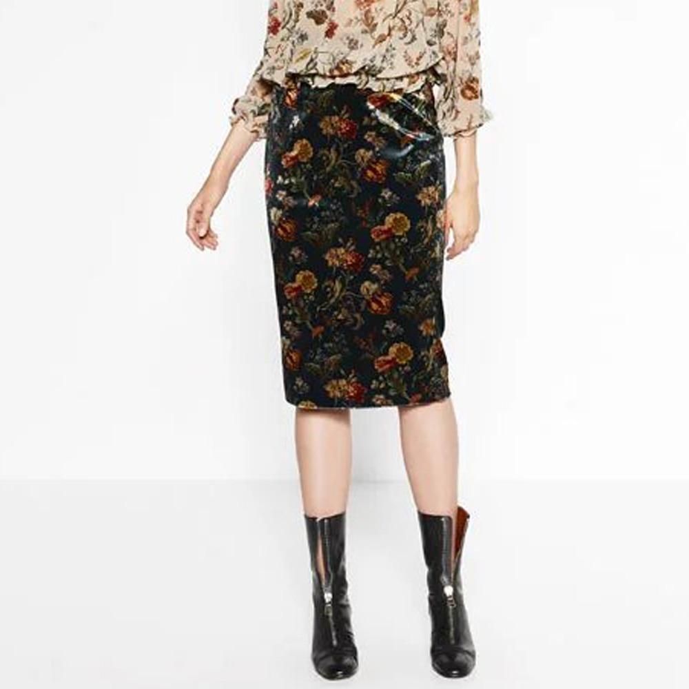velvet ethnic floral pattern back split hem knee
