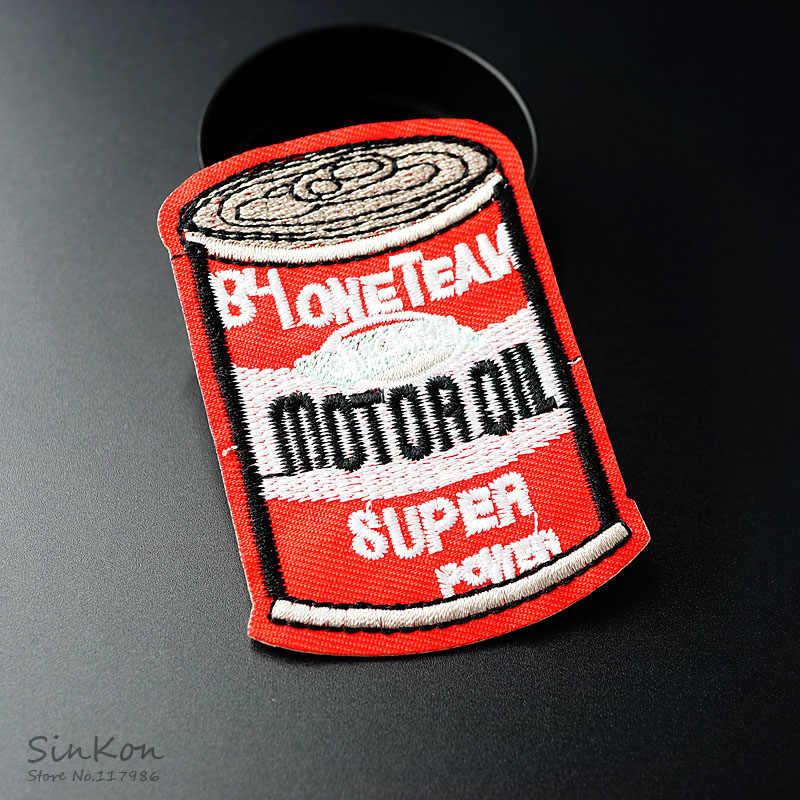 Olio motore (Formato: 5.0X7.3cm) Distintivi E Simboli Patch Ricamato Applique Da Cucire Vestiti Etichetta Adesivi FAI DA TE Accessori di Abbigliamento Distintivo