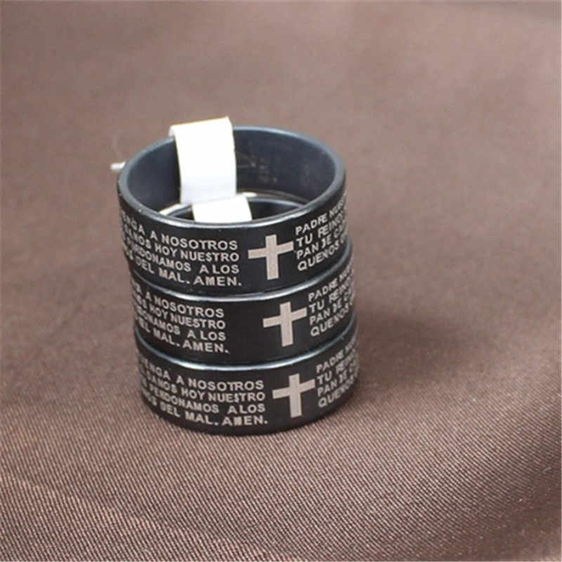 4 Colors Vintage silver Free Shipping 316L Titanium Stainless Steel Cross Bible Text Jewelry for Men lord Wedding Band male ring
