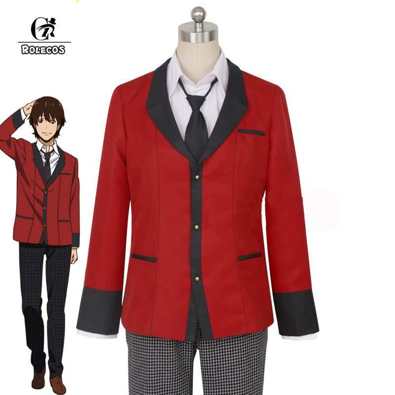 ROLECOS Brand Anime Kakegurui Cosplay Costumes Compulsive Gambler Suzui Ryouta Cosplay Costume Japanese High School Uniform