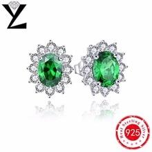Pendientes de la vendimia para las mujeres reales 925 pendientes de plata esterlina creado esmeralda verde natural de piedra noble joyas de estilo