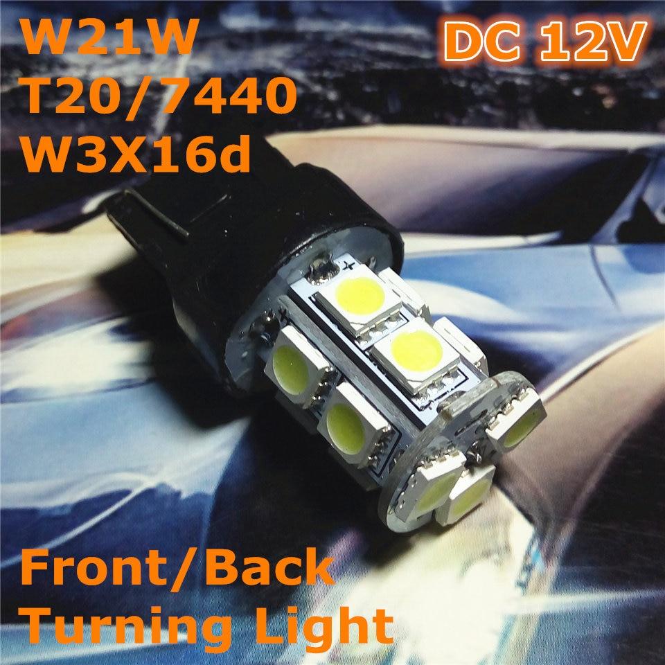 12V LED (13 * 5050SMD) Żarówka samochodowa W21W T20 W3X16d / 7440 - Światła samochodowe - Zdjęcie 1