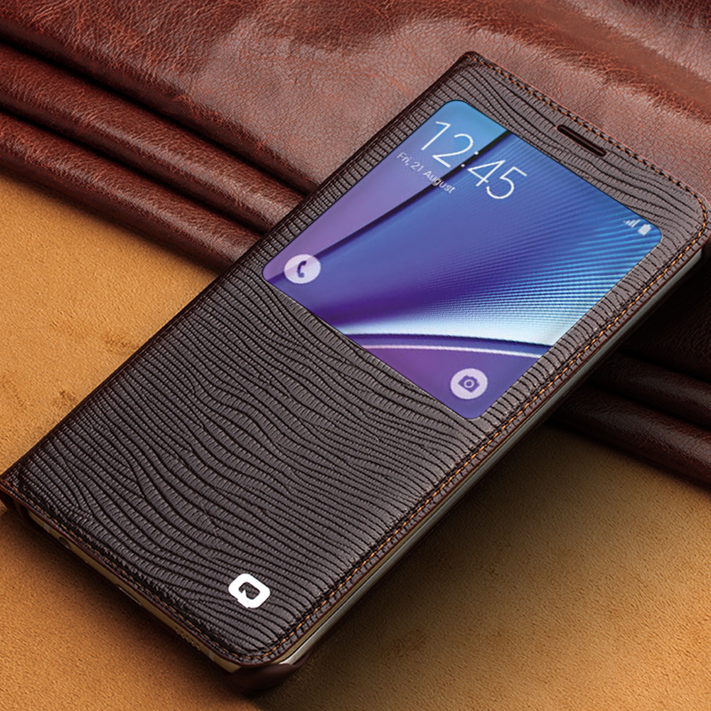 sale retailer 41dd4 1a44b US $39.99 |QIALINO New Designer Smart View Flip Phone Case for Samsung  GALAXY Note 5 Genuine Leather Window Cover Sleep Wake Up Function-in Flip  Cases ...