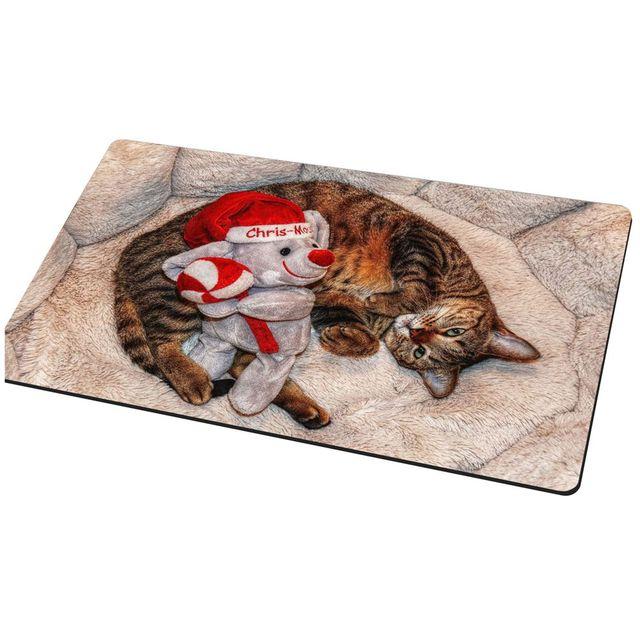 Practical Christmas Cat Welcome Doormat Rag Rug Toy Print Bedroom Bathroom Non Slip Carpet Red