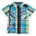 2015 nova kids wear 100% algodão de alta qualidade bordado popular xadrez sleevet curto-shirt para meninos crianças desgaste do bebê varejo