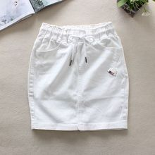 Summer White Jeans Skirts Womens Elastic Waist Back Split Pencil Skirts Cotton Natural Waist Above Knee Denim Skirts 9323