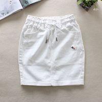 2019 летние белые женские джинсовые юбки эластичная талия сзади юбка-карандаш на шнурке хлопок натуральная Талия выше колена джинсовые юбки ...