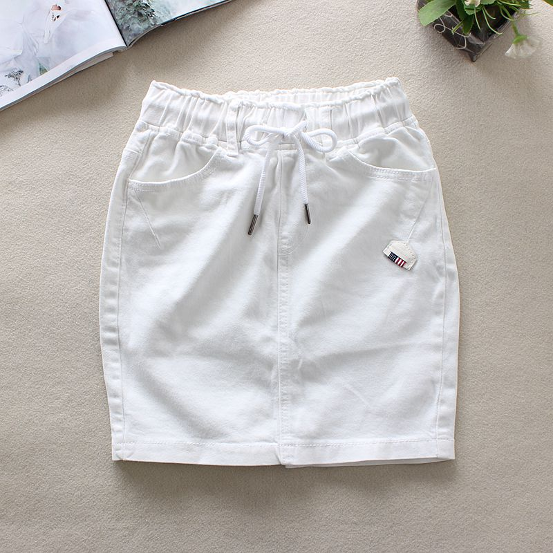 2020 Summer White Jeans Skirts Womens Elastic Waist Back Split Pencil Skirts Cotton Natural Waist Above Knee Denim Skirts 9323