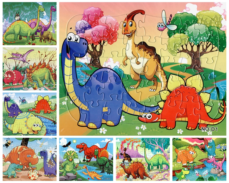 21*28CM 40 Pieces Paper Cute Cartoon Dinosaurs Jigsaw Puzzle Toy For Kids Gift