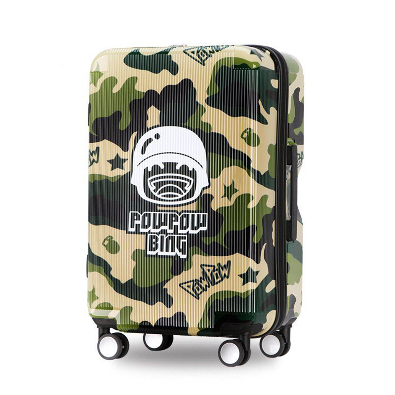"""Camouflage Trolley Case 20"""" 24"""" Cool Wheel Suitcase Men"""