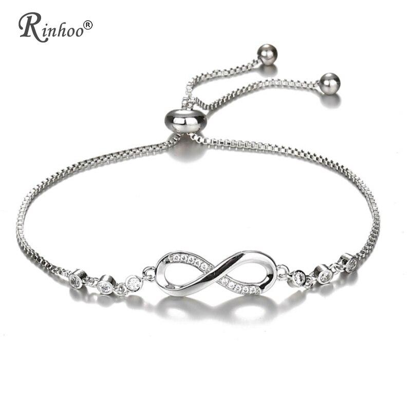 37c30b1f83b8 RINHOO Cubic Zirconia directo pulsera de la amistad del infinito y brazaletes  para mujeres regalos de joyería de la boda de moda Pulseras Mujer