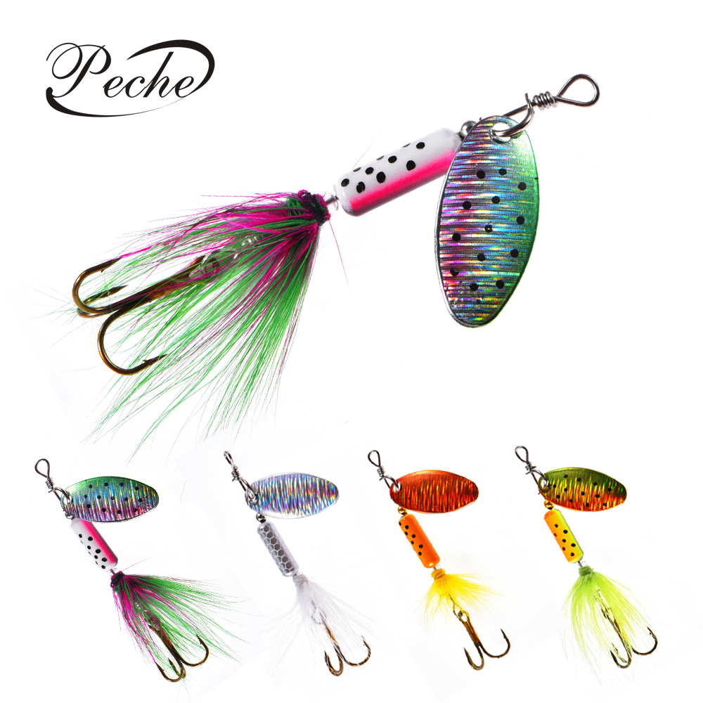 Peche Spinner Fishing Lures Wobblers CrankBaits Jig Shone Metal Sequin Trout Spoon With Feather Hooks for Carp Fishing Pesca(China)