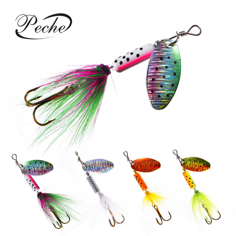 Peche Spinner Fishing Lures Wobblers CrankBaits Jig Shone Metal Sequin Trout Spoon With Feather Hooks for Carp Fishing Pesca