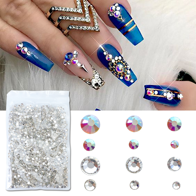 1440pcs Nail Crystals Rhinestone Clear Ab White Diamond Art Str Parion Gems Decoration Stone Manicure