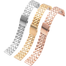 10MM 12MM 14MM 16MM 18MM 20MM Stainless Steel Watchbands Women Metal Watch Straps Silvery Golden Rose gold bands