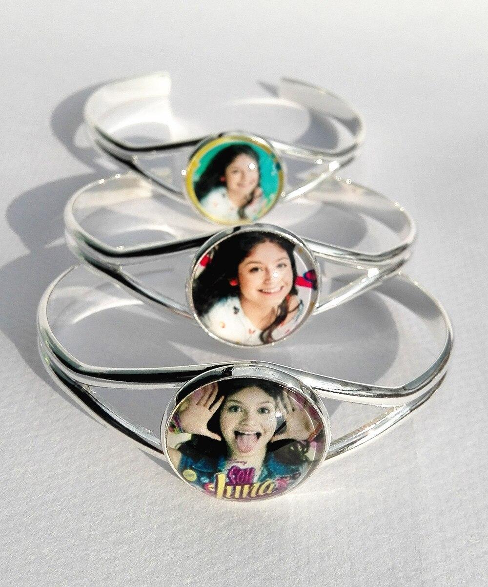 24pcs(Mixed 8 styles) Super pop singer Soy Luna bracelet Elenco de Soy Luna silver bracelets I'm moon hand chain glass bangle