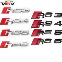 1 шт. 3D из металла Логотипы марок автомобиля RS3 RS4 RS5 RS6 автомобиля Стикеры модификации 3d авто автомобиля металла знак