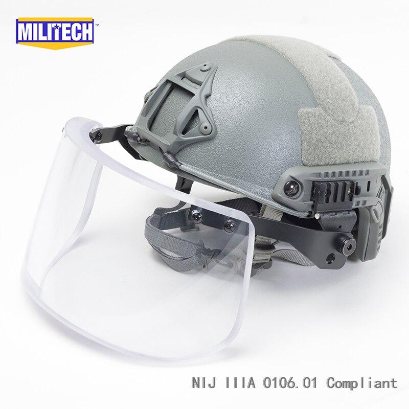 MILITECH FG Deluxe NIJ IIIA FAST Bulletproof Helmet and Visor Set Deal Ballistic Helmet Ballistic Bullet Proof Mask Package