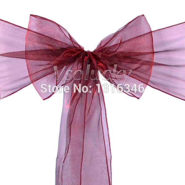 Dark Red Chair Sashes High Back Computer 25pcs Lot Burgundy Sheer Organza Bow Cover Wedding Party Xmas Birthday Shower Decoration In From Home Garden On