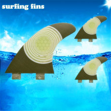 New Scorching Three Items Of Water On The With Fiberglass Honeycomb Bamboo Surfboard Caudal Surf Fins Tail Rudder