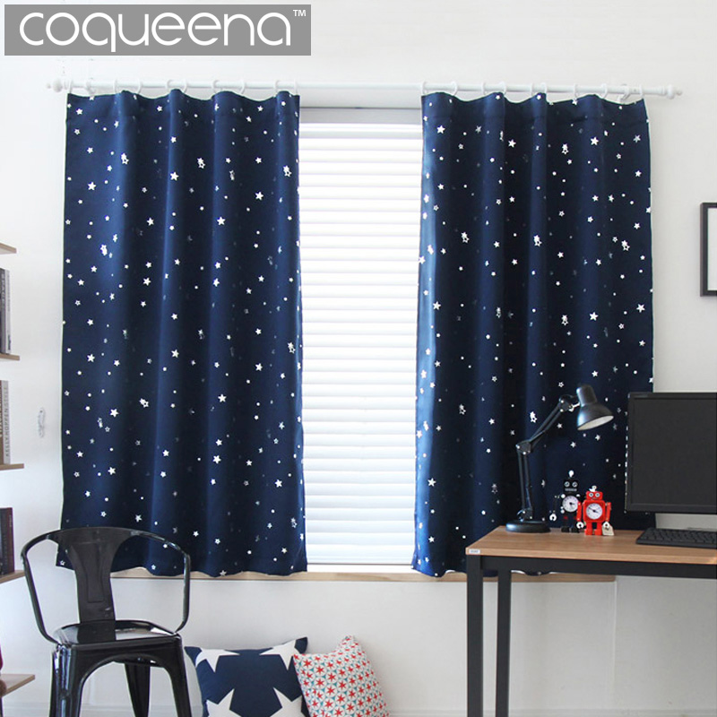 Modern Star Pattern Blackout Curtains for Living Room Bedroom Kichen Short Window Curtains Panel Drapes Cream & Navy Blue, 1 PCS