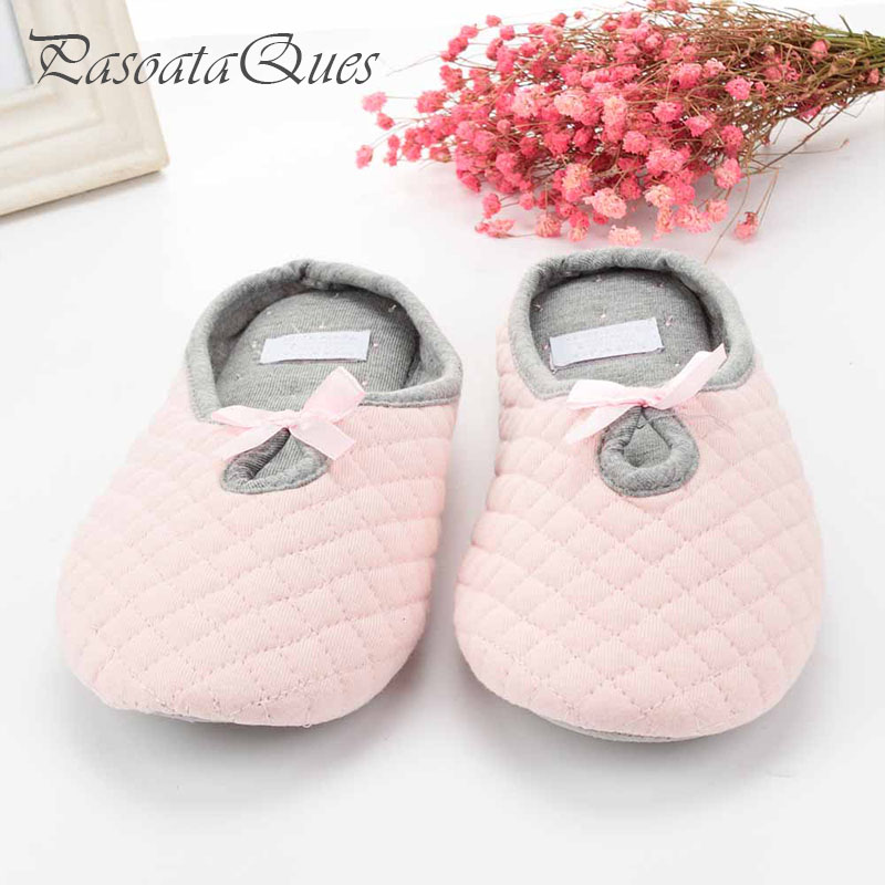 95f0df051be Cute Bow Tie Winter Women Home Slippers For Indoor Bedroom Soft Bottom Cotton  Warm Shoes House Adult Flats Christmas Gift