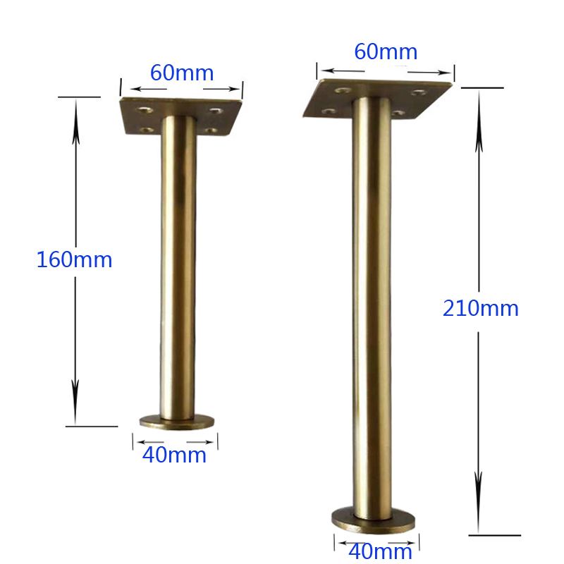 4Pcs 60*160mm Or 60*210mm Gold Bronze Furniture Cabinet Cupboard Test Supports Adjustable Metal Legs Table Feet - Verified Lab