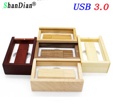 SHANDIAN Photography Customer LOGO wooden usb + gift box usb flash drive usb 3.0 wood pendrive 8GB 16GB 32GB wedding gifts