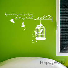 Bird Cage Wall Sticker Birdcage Branch Wall Decals Modern Wall Decors Vinyl Wall Birds Cage Wallpaper Hot Sale Free Shipping sweet bird cage pattern removeable waterproof decorative wall sticker