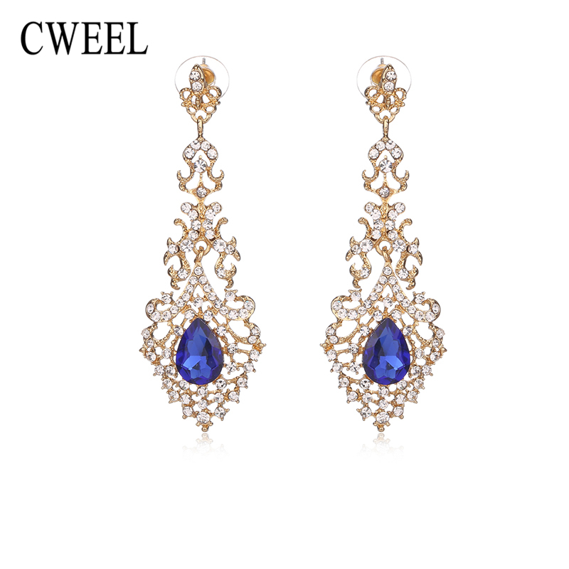 CWEEL Created Crystal Dangle Earrings For Women Wedding Party Bridal Accessories Long New Gold Color Jewelry