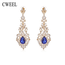 CWEEL Created Crystal Dangle Earrings For Women Wedding Party Bridal Accessories Long New Gold Color Jewelry Holiday Earring