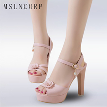 Plus Size 34-43 Summer Platform ankle-strap Shoes Women Sandals Square Med Heel Sandals Peep Toe Sweet Pink Dating Shoes Party qutaa 2017 women sandals summer genuine leather square low heel shoes ankle strap white ladies beach wedding shoes size 34 39