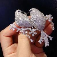 Qi Xuan_Brooch jewelry_New Brooch Love Bird Brooch Beaver Bird S925 Silver Hand Set High Carbon Drill Imitation Drill Zircon