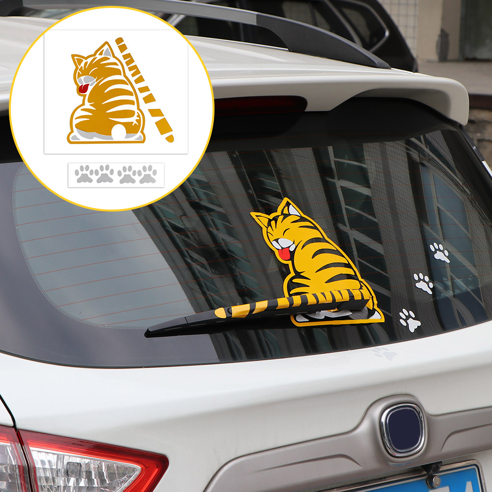 Aozbz funny cat moving tail car stickers 3d car stickers reflective car styling window wiper decals in car stickers from automobiles motorcycles on