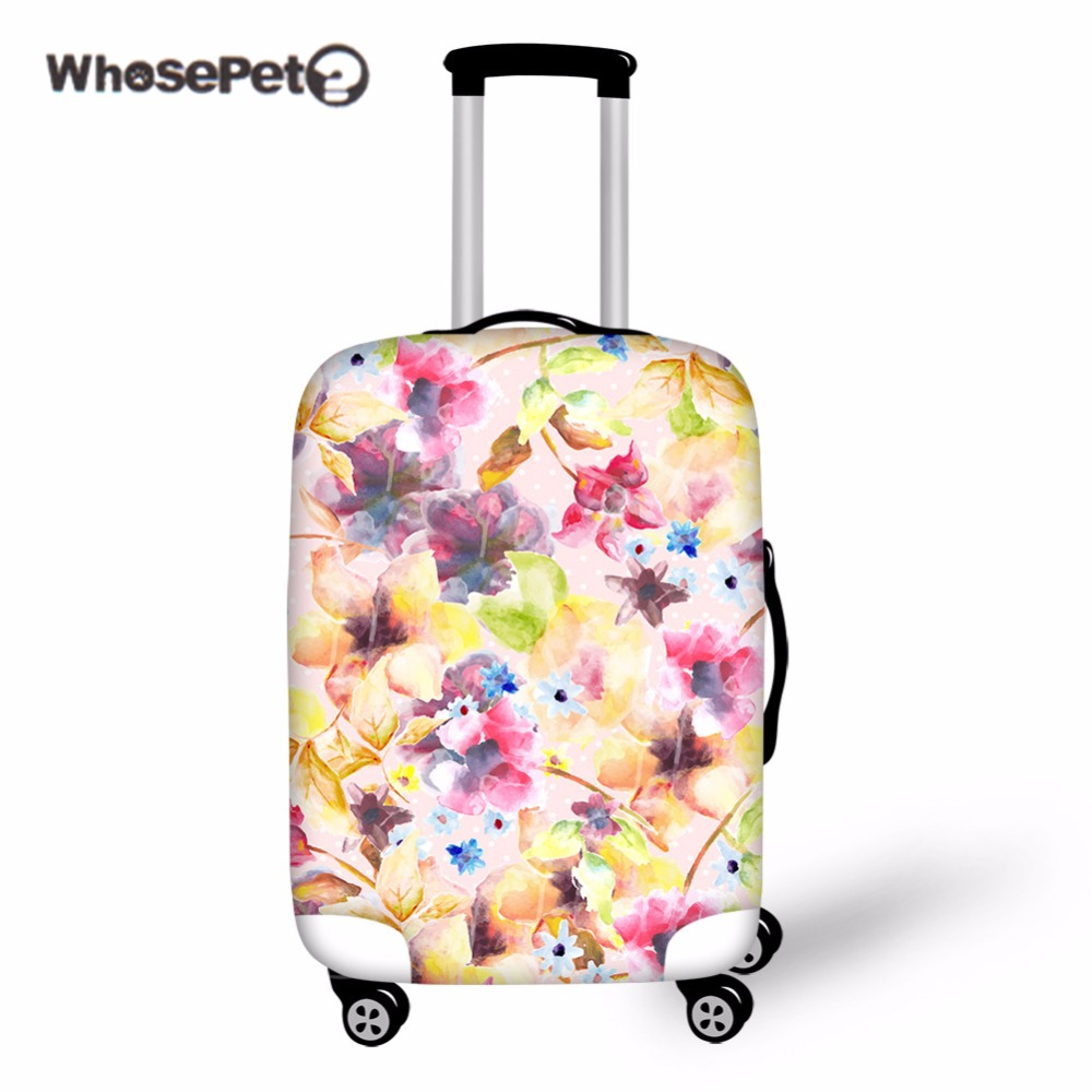 WHOSEPET 3D Flower Luggage Cover Protective Suitcase Covers For 18-30 Trunk Cases Elastic Green Baggage Covers Travel Accessorie