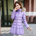 Winter New Arrive 2016 Fashion Women Down Cotton Coat Slim Thick Warm Medium Length Zipper Collar Hooded Outwear Manteau Femme