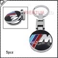 5PC Chrome Finish ///M Key Chain Fob Ring Stainless Steel Keychain for BMW