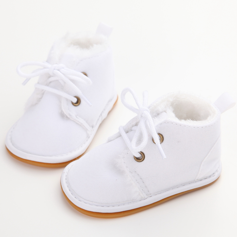 Cotton Shallow Baby Shoes  Lace-Up Solid For Autumn Winter Warm Baby Girl Shoes High Quality Rubber First Walkers