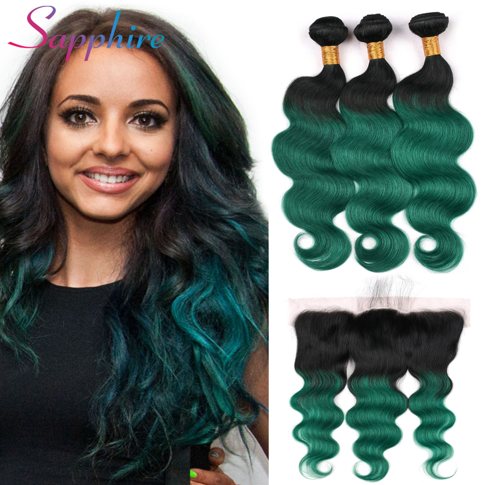 Sapphire Brazilian Body Wave Hair Bundles With Lace Frontal 13x4Inch Closure Remy Human Hair 3 Bundles With Frontal Closure