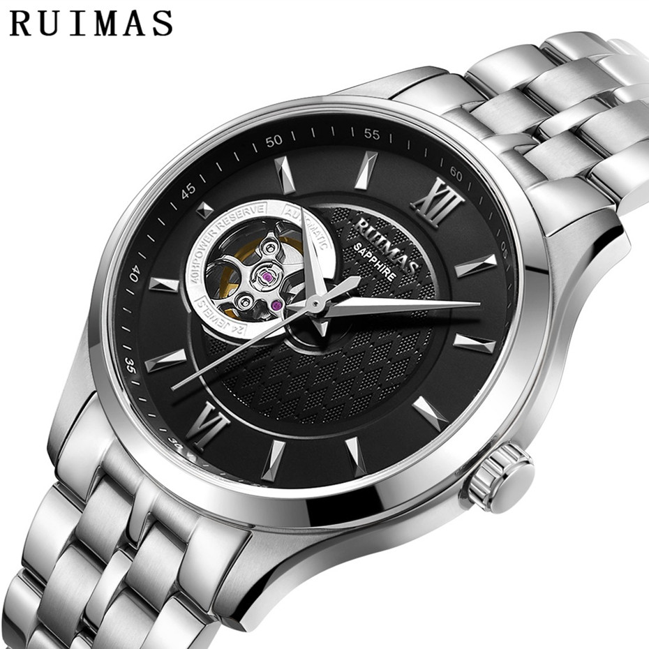 RUIMAS Mens Classic Luxury Mechanical Watch Male Business Casual High Quality Wristwatches with NH38 Brand Clock Montre Homme