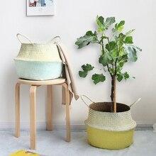 hot deal buy wcic seagrass straw laundry basket storage baskets rattan folding flower vase hanging baskets home garden planter organization