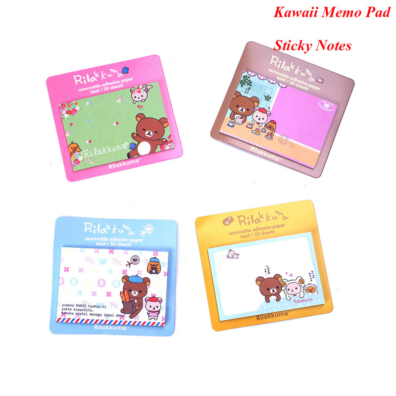 4Pcs/Set Kawaii Bear Memo Pad Self-Adhesive message post Removable Memo Pad Sticky Notes School office supplies stationery