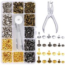 364 Set New Leather Rivets Single Cap Tubular Metal Studs with Fixing Tool Kit for Craft Repairing