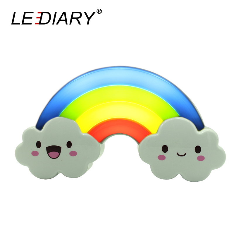 LEDIARY LED Rainbow Colorful Night Light Voice&Light Control Decorative Lights Baby Bedside Lamp Children Toy Batteries Powered yimia creative 4 colors remote control led night lights hourglass night light wall lamp chandelier lights children baby s gifts