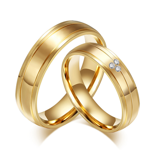 Alibaba Express Factory Price Sale Gold Plating Stainless Steel Couple Ring  Set 2pcs Couple Wedding Rings
