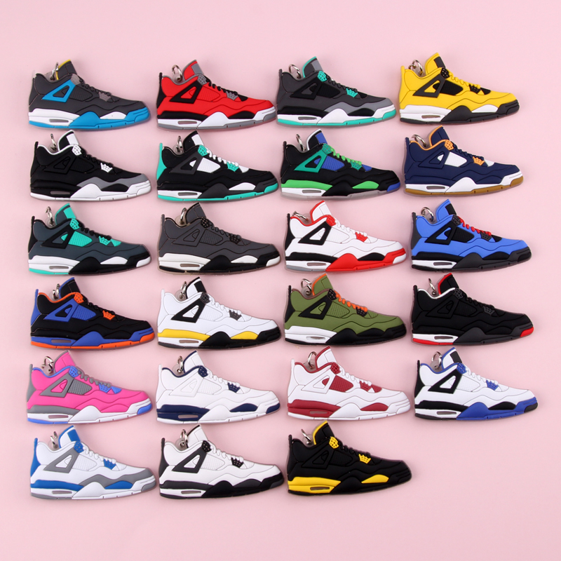 Keychain New Exotic Mini Jordan 4 Retro Shoe Key Chain Men And Women Kids Gift Keyring Basketball Sneaker Key Holder Porte Clef