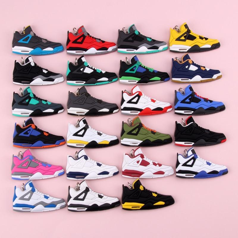 Keychain New Exotic Mini Jordan 4 Retro Shoe Key Chain Men And Women Kids Gift Keyring Basketball Sneaker Key Holder Porte Clef