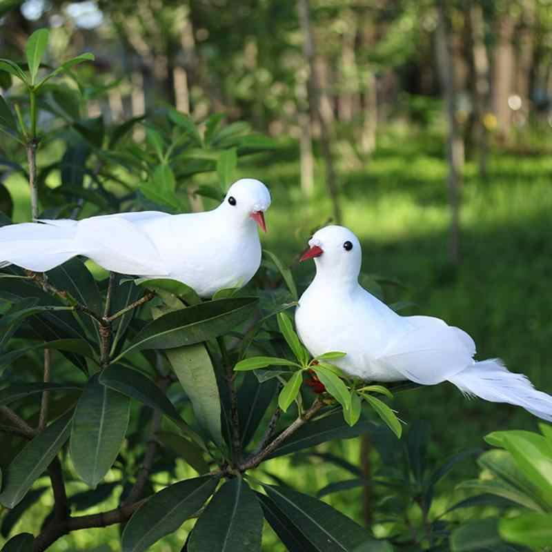 2pcs Fake Doves White Artificial Foam Feather Wedding Ornament Decorative Home Craft Table Decor Bird Toy Wedding Decor